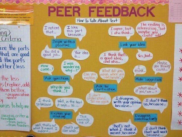 Peer Feedback Sentence Frames 👥🗣👂🏽💡 (by @WeAreTeachers) #edchat #education #elearning #edtech #k12