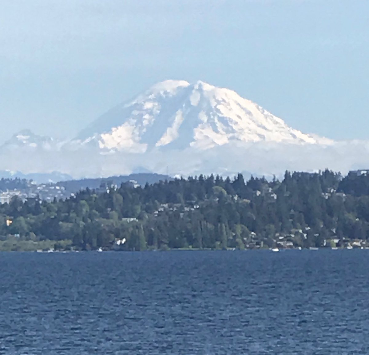 Summer is coming early to the Seattle area. Mt. Rainer is floating above the clouds.