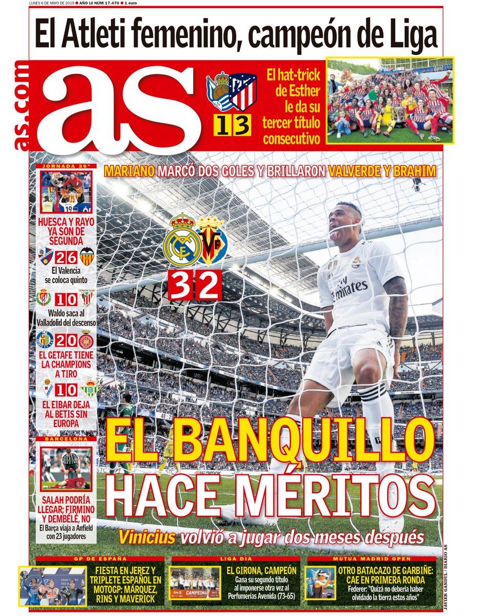 📰 La portada de hoy. 'El banquillo hace méritos'.   #PortadaAS #FelizLunes