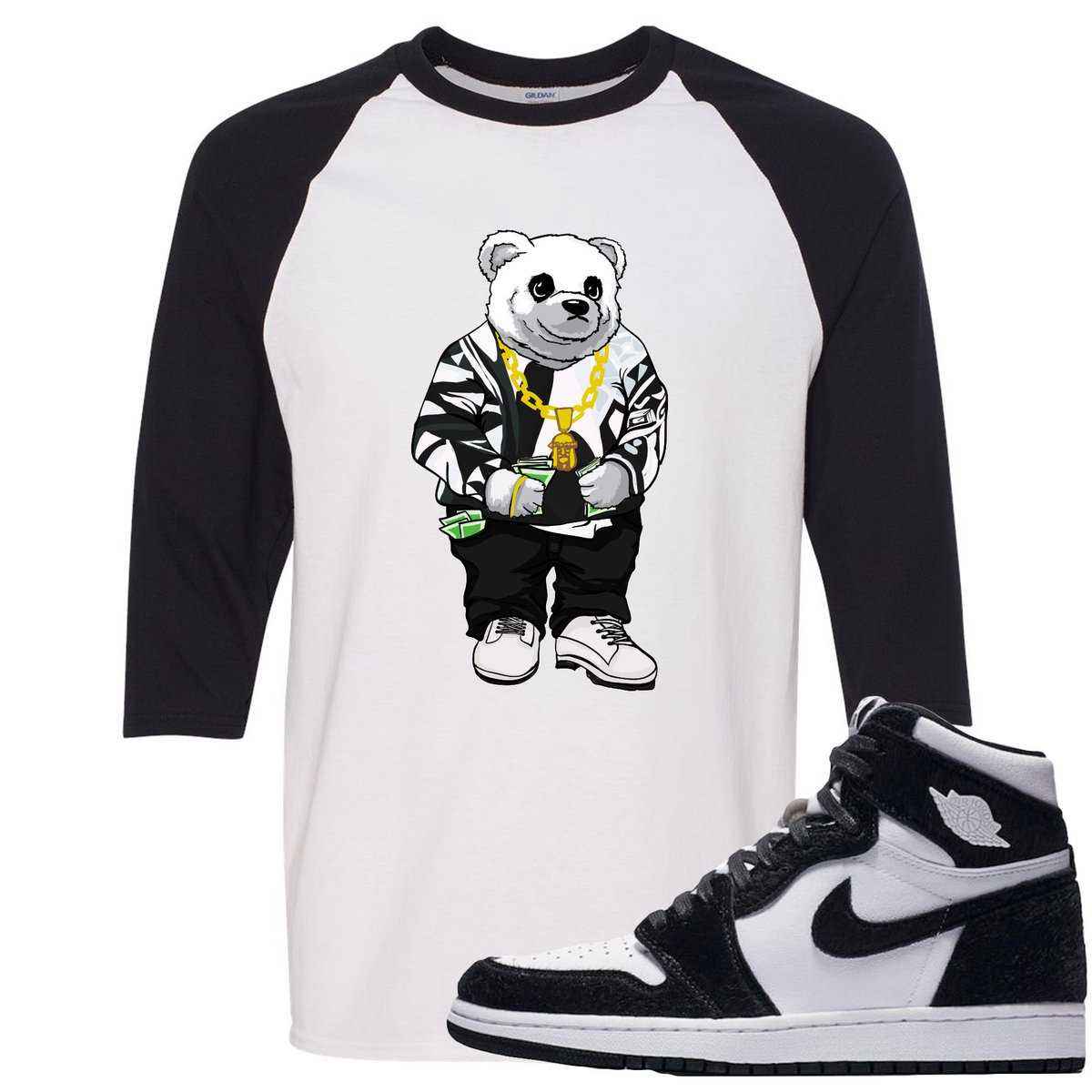 78b5bd84bb1075 This Biggie Bear White and Black Ragalan T-Shirt from Foot Clan is a perfect