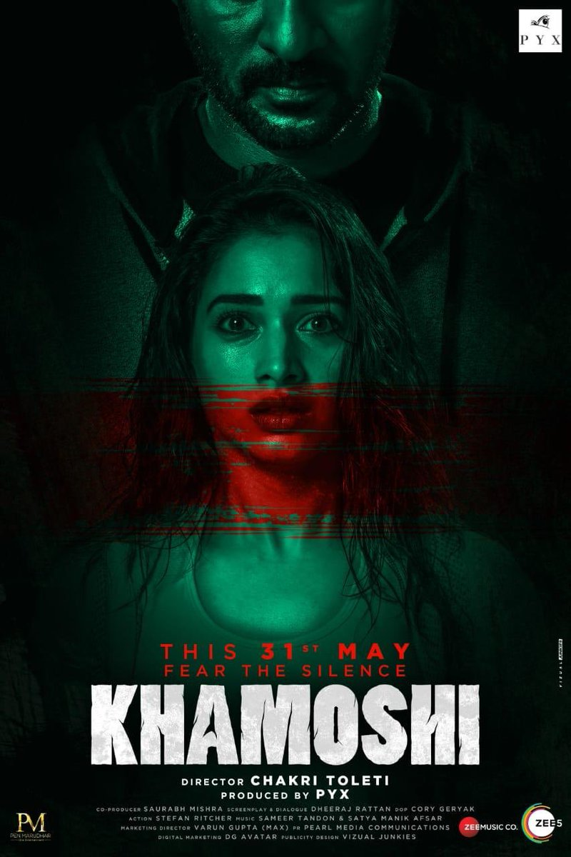 Silence shall make the maximum noise! Here's the poster of #Khamoshi. Directed by @chakritoleti, releasing on 31st May. @tamannaahspeaks @imsaurabhmishra @pyxfilms @ZeeMusicCompany