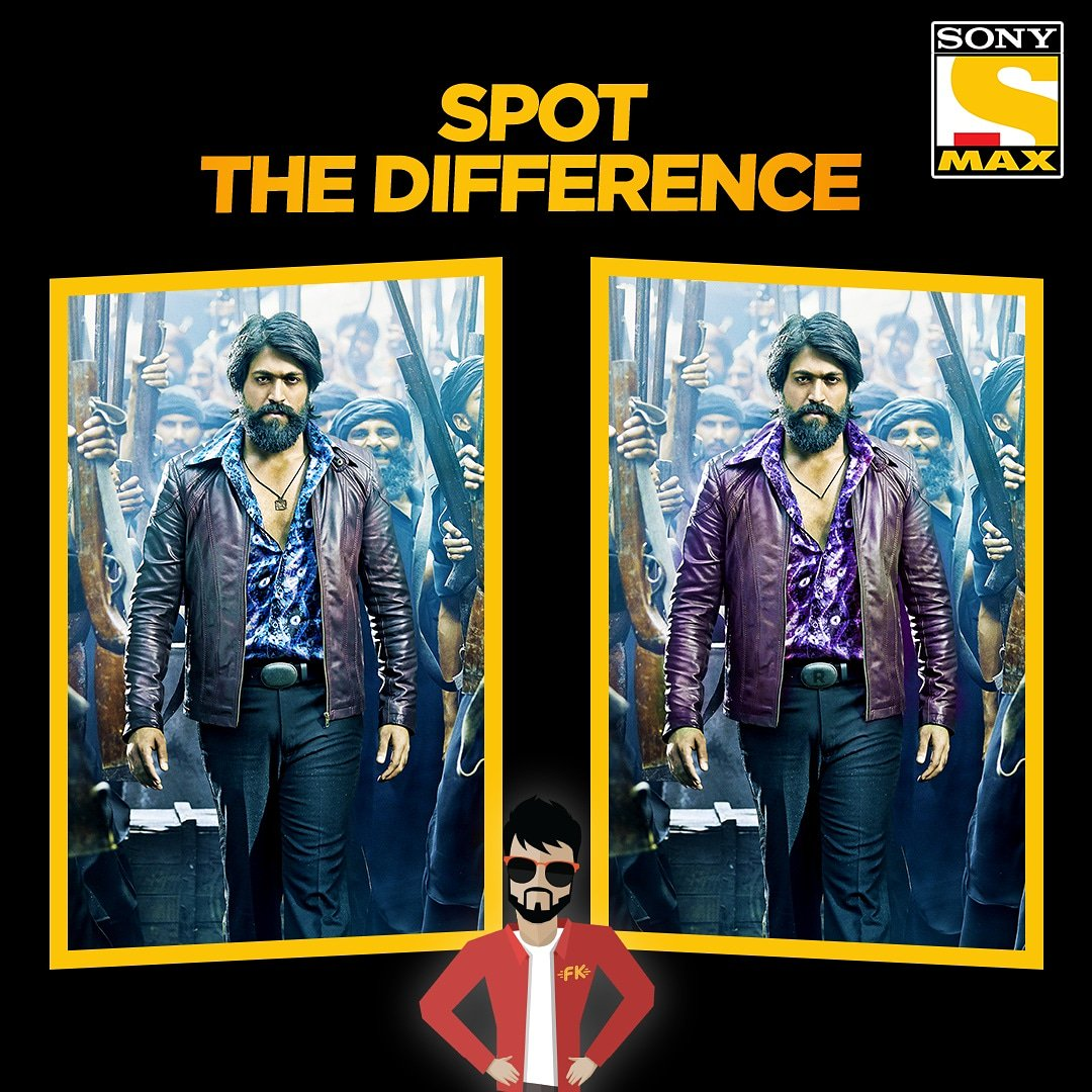 Rocky swayed the world of KGF in his own fashion, can you spot the differences between these images with all your passion? Type #SpotTheDifference here : http://m.me/MAXTelevision  and Filmykaant will help you  with the right answer!    #Filmykaant #SpotTheDifference #KGF #Yash