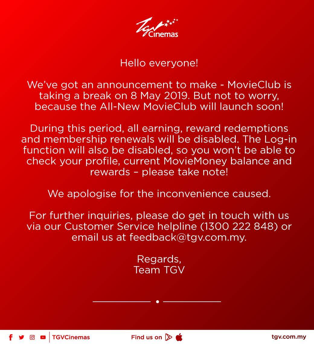 Tgv Cinemas On Twitter Tgv Movieclub Psa Big News Incoming Folks If You Want To Check Your Moviemoney And Keep Track Of Your Rewards Before The Big Switch Happens Now S The Time