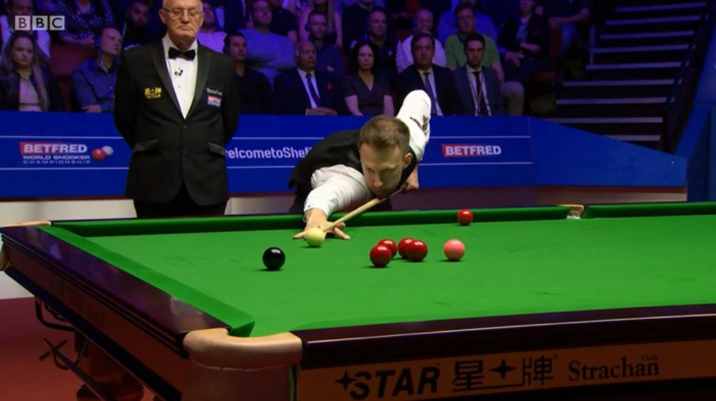 There is no stopping him.A 94 break puts Trump one frame away from winning the World Championship.Watch on @BBCTwo and follow live text: http://bbc.in/2GZbNdv  #bbcsnooker