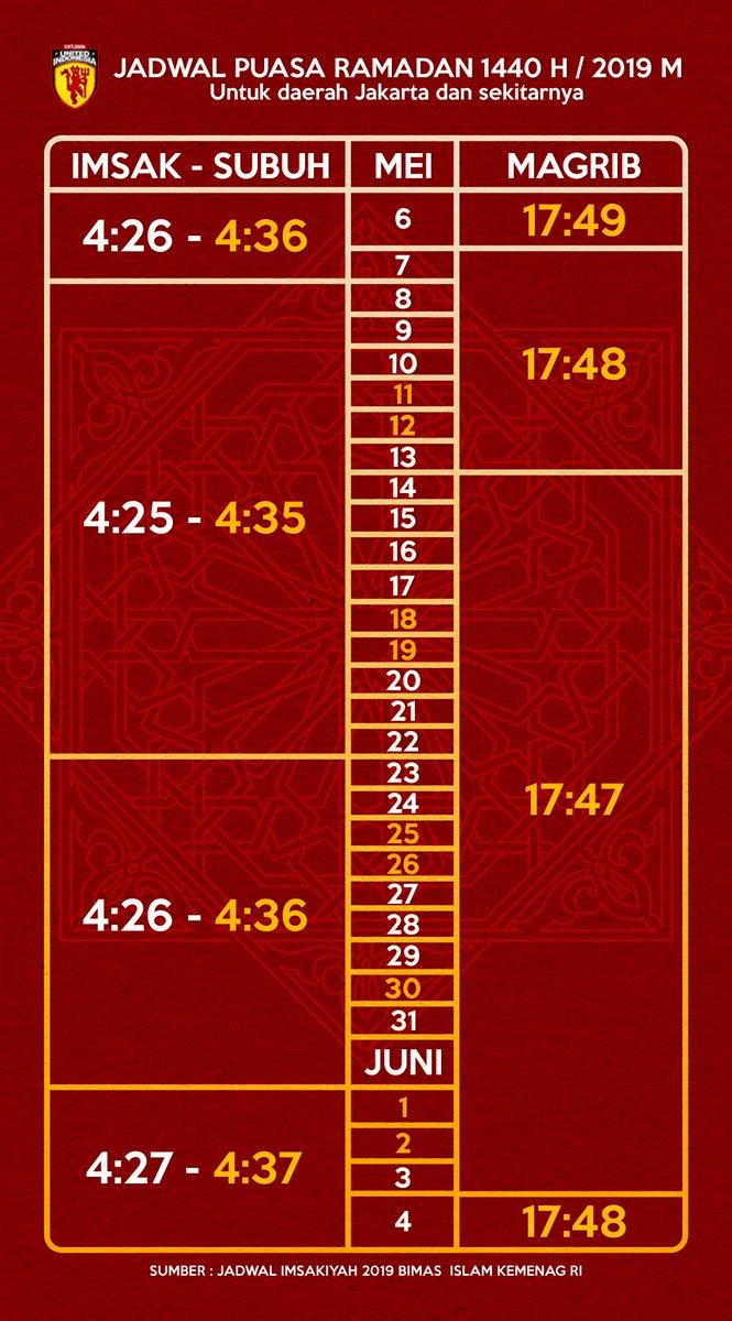 Selamat menjalankan ibadah puasa buat seluruh teman-teman MuslimUnited Indonesia.  Berikut jadwal Imsak & Berbuka Puasa untuk daerah Jakarta & Sekitarnya Visit: http://www.unitedindonesia.org/forum/showthread.php?p=695830&posted=1#post695830…  #UtdIndonesia #UnitedTogether  #UnityForUnited  #RamadanMubarak  #RamadanKareem