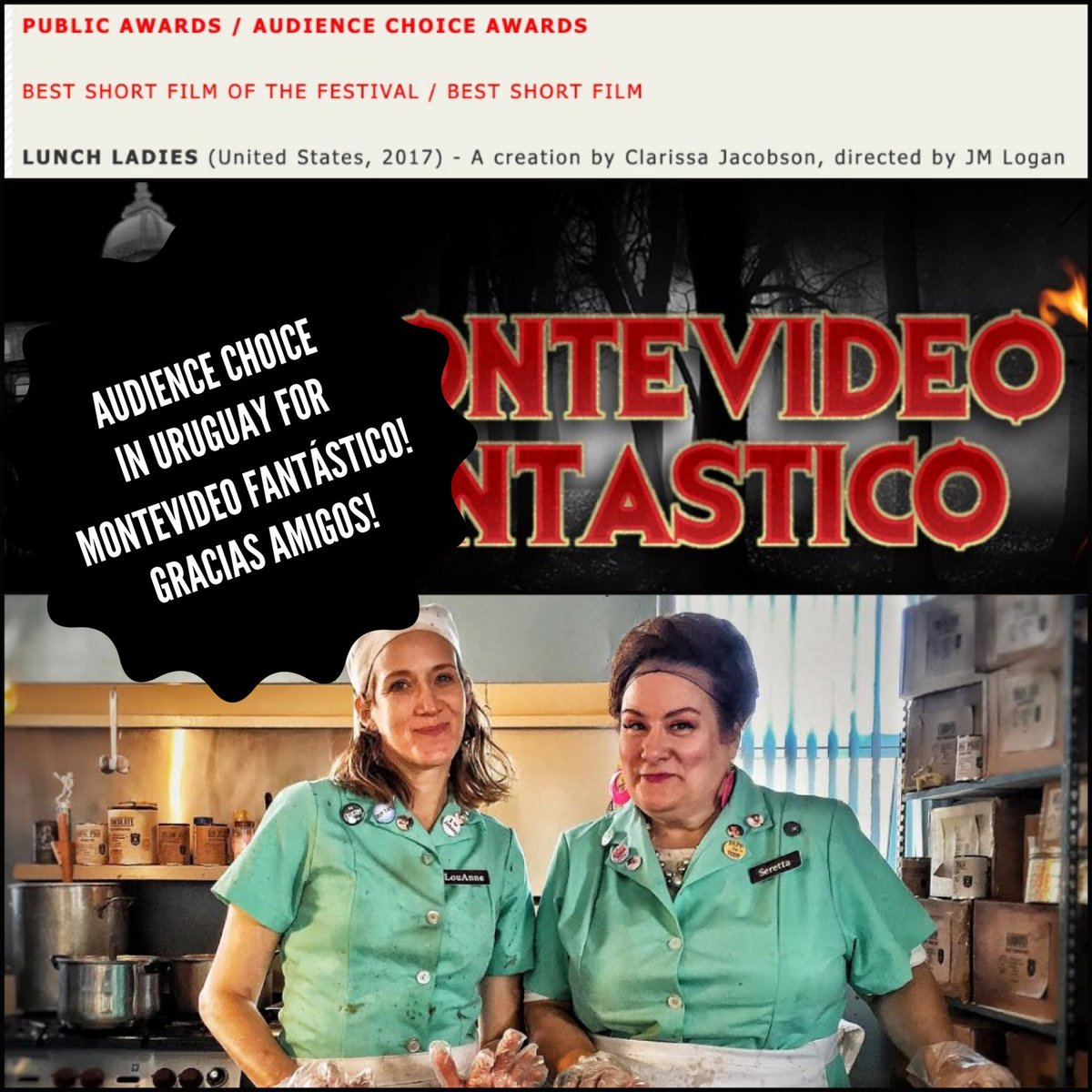 Gracias amigos!  Thank you all u sick and twisted Uruguayans for giving us the Audience Choice Best Short Film win at Montevideo Fantástico Fest! @MontevideoFan #lunchladies #lunchladiesmovie #johnnydepp #montevideo #uruguay #montevideofantastico