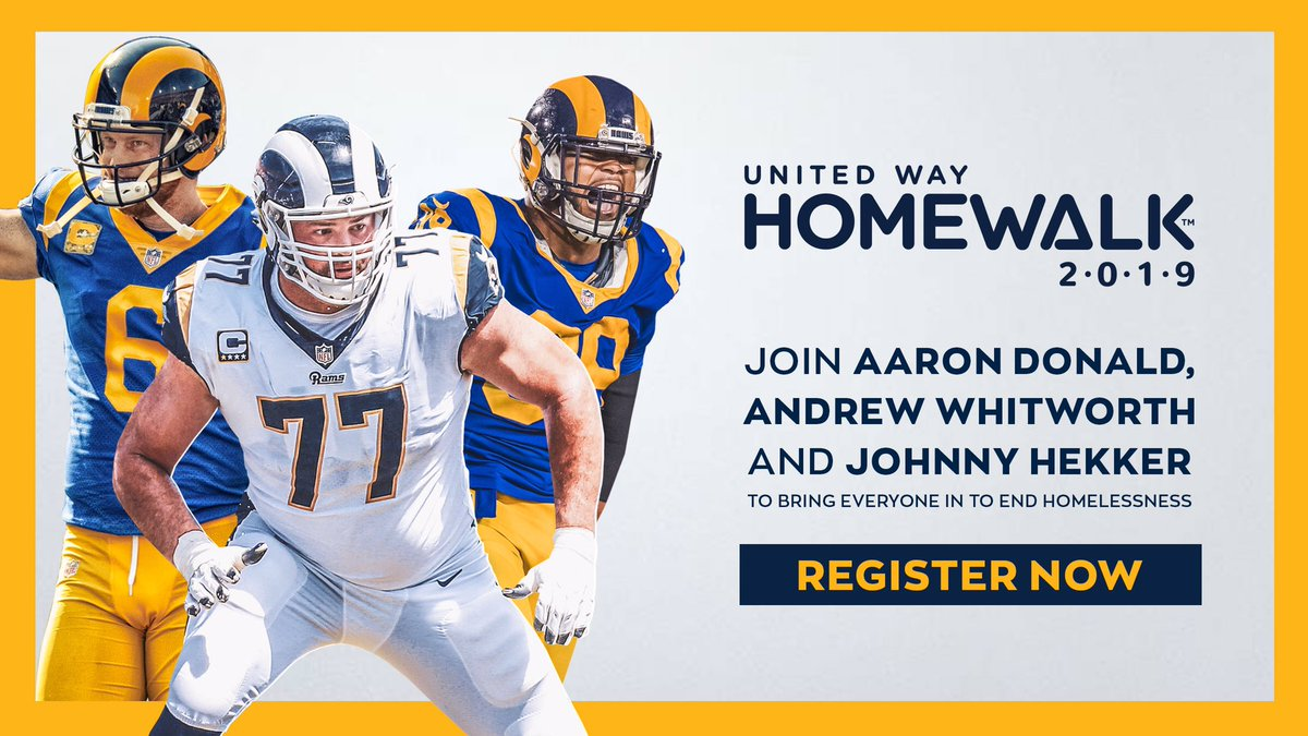 Join Team @RamsNFL for United Way's HomeWalk and help bring Everyone In to end homelessness in LA. Register at therams.com/homewalk. We're in, Are you?!