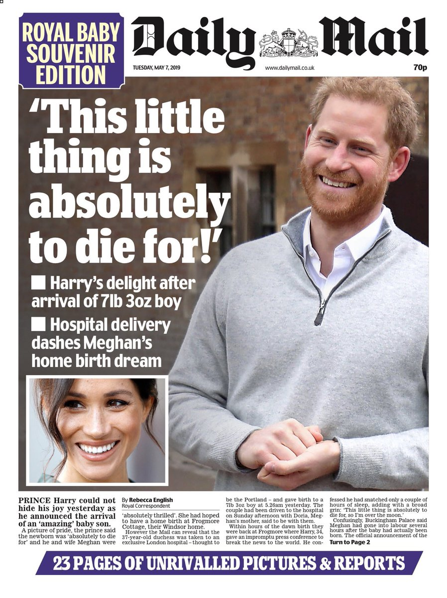 PRINCE HARRY MEGHAN MARKLE Royal Baby Archie Souvenir Daily Mirror 9th May 2019