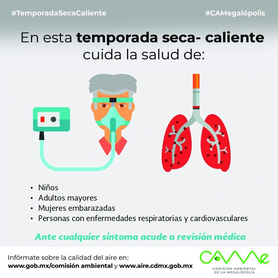 En esta #TemporadaSecaCaliente... ¡Cuida a tus seres queridos! #CAMegalópolis #ZMVM@Aire_CDMX