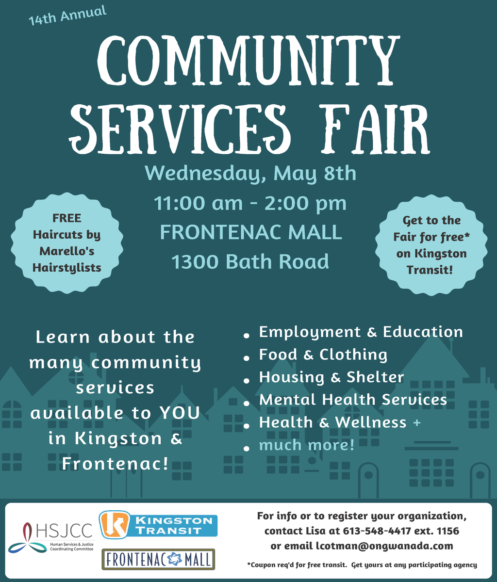 test Twitter Media - Join us at the Frontenac Mall on Wednesday, May 8 for the 14th annual Community Services Fair. Learn about the different resources available in the #Kingston area including employment, housing, wellness and much more. https://t.co/G9Ef8aw2l6