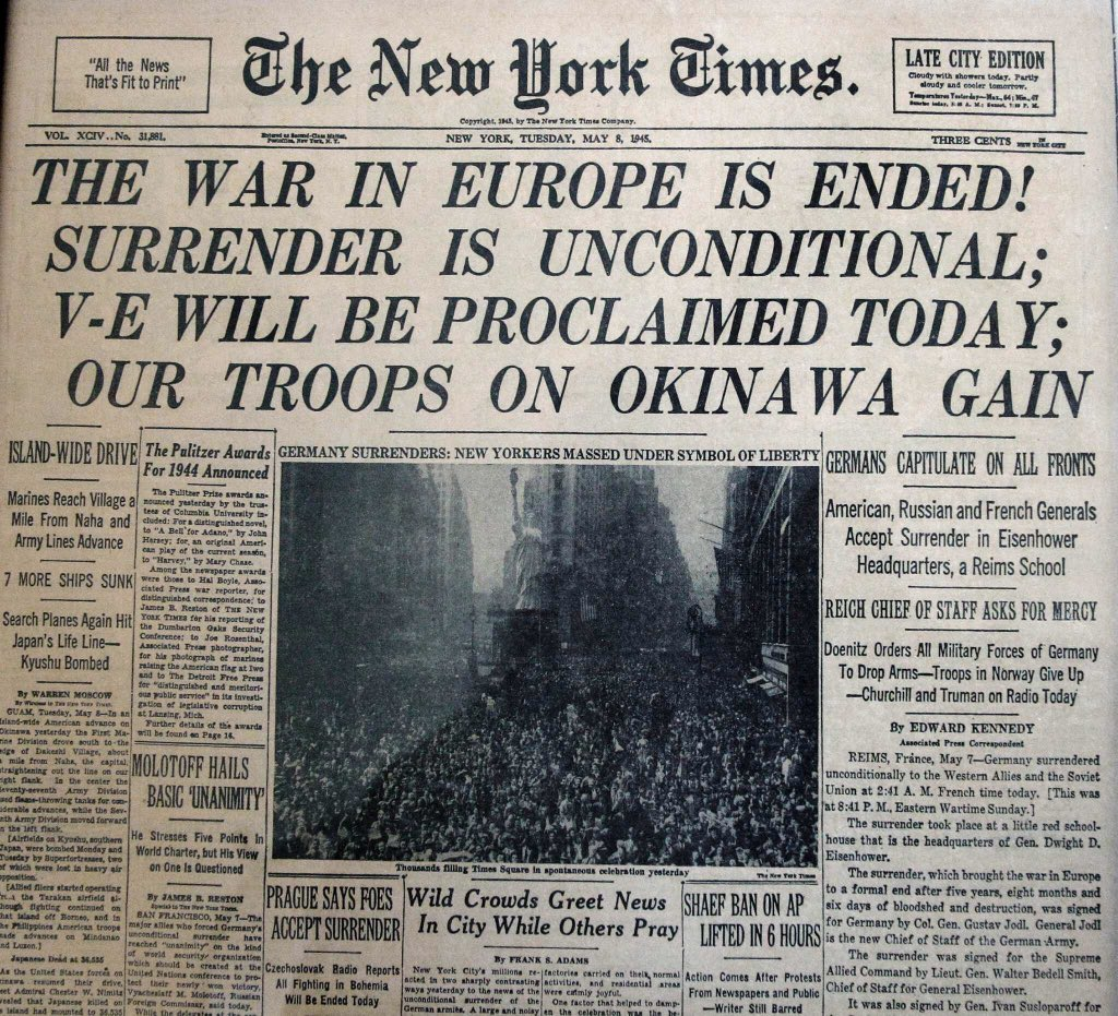 """New York Times on the news of tomorrow 1945: """"The War in Europe is Ended!  Surrender is Unconditional"""": https://t.co/uoWXhlq4Pq"""