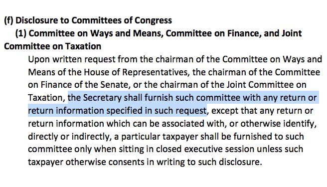 "A graphic showing text from 26 U.S.C. Section 6103 (f) with these words highlighted: ""the Secretary shall furnish such committee with any return or return information specified in such request"""