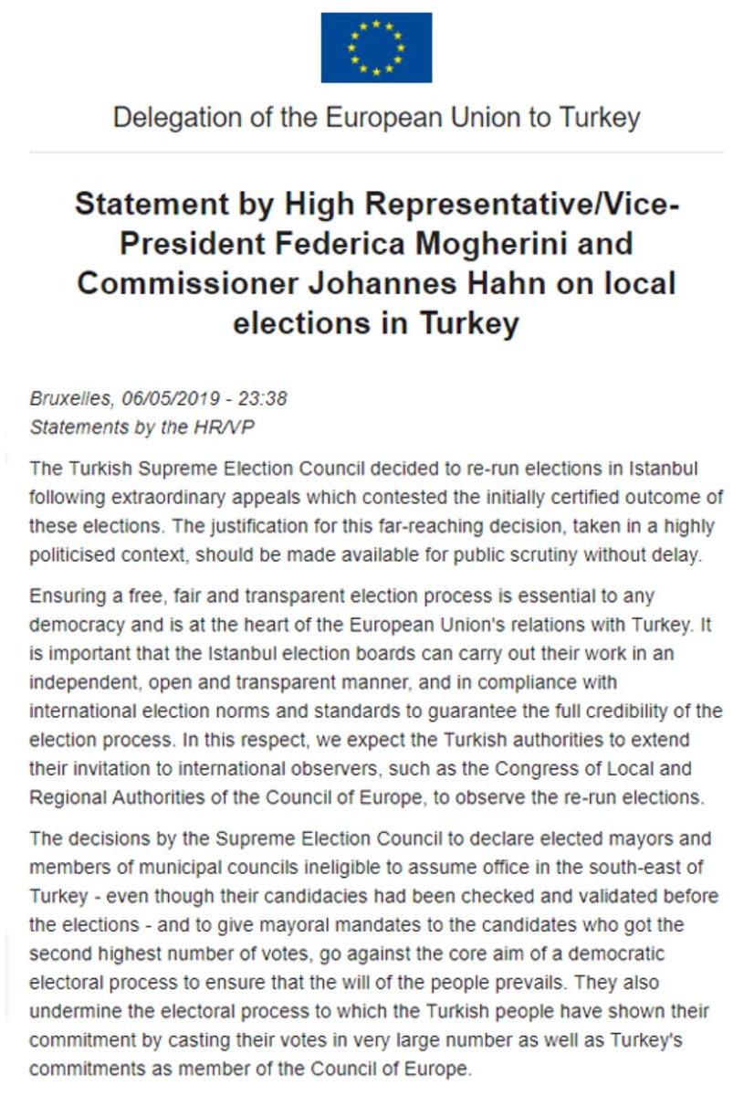 e967d077a43 Europese Commissie over het schrappen van de verkiezingsuitslag in  Istanbul: 'Een verantwoording voor deze vergaande beslissing moet nu  openbaar worden, ...