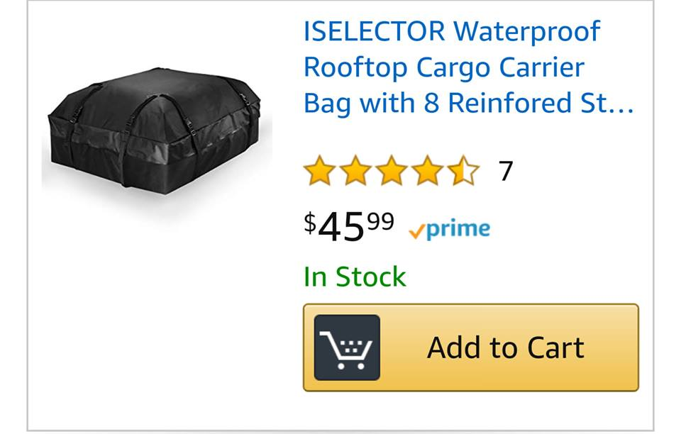 ISELECTOR #Waterproof #Rooftop #Cargo #CarrierBag with 8 Reinforced Straps Fits All #RoofRacks (15 Cubic Feet) 60% off with #promocode 60ETJ28M til 5/10/19 #amazon #savemoney #roof https://www.amazon.com/promocode/AAJKH17ZFFFO1?ref_=assoc_tag_ph_1524210978275&_encoding=UTF8&camp=1789&creative=9325&linkCode=pf4&tag=joieschmidt-20&linkId=eeb55950b5a63c34288e766d5e886595…