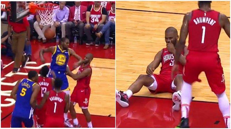 【影片】杜蘭特不滿保羅搶籃板的小動作,回頭看了一眼後,直接肘擊CP3嘴部回應!