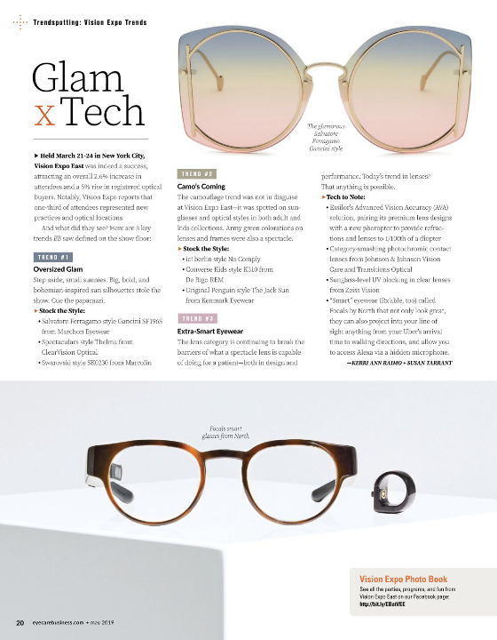4f03029c6142b eyecarebusiness  May 2019 issue takes a look back at some of the  eyewear  trends spotted on the Vision Expo East 2019 Show Floor!