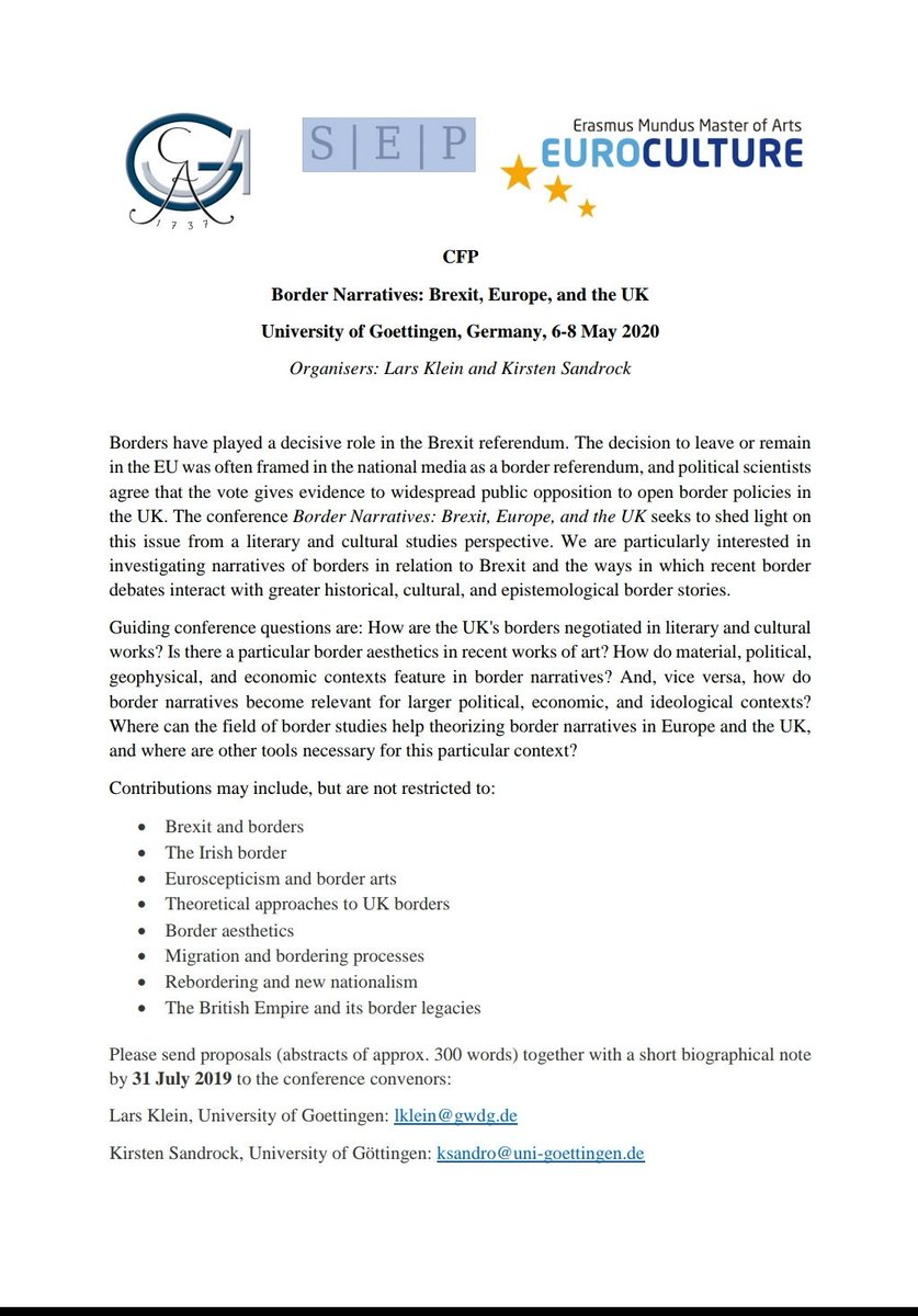 CFP on Border Narratives: Brexit, Europe, and the UK - deadline 31 July 2019