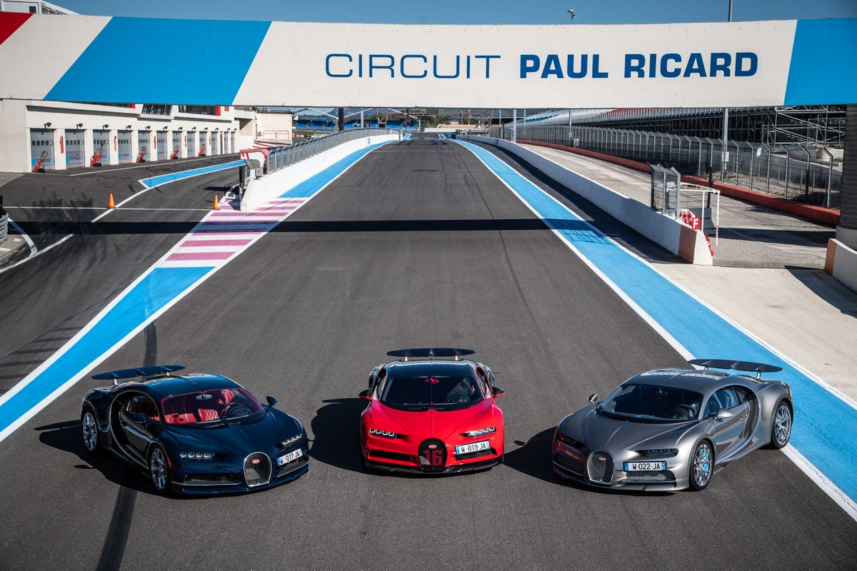 The @Bugatti Chiron Sport displaying its strengths on the F1 track Paul Ricard in the South of France.  #Bugatti #Chiron #ChironSport #OnlyChirons #CircuitPaulRicard #BugattiTrackDay #Supersportcras #Hypersportcars