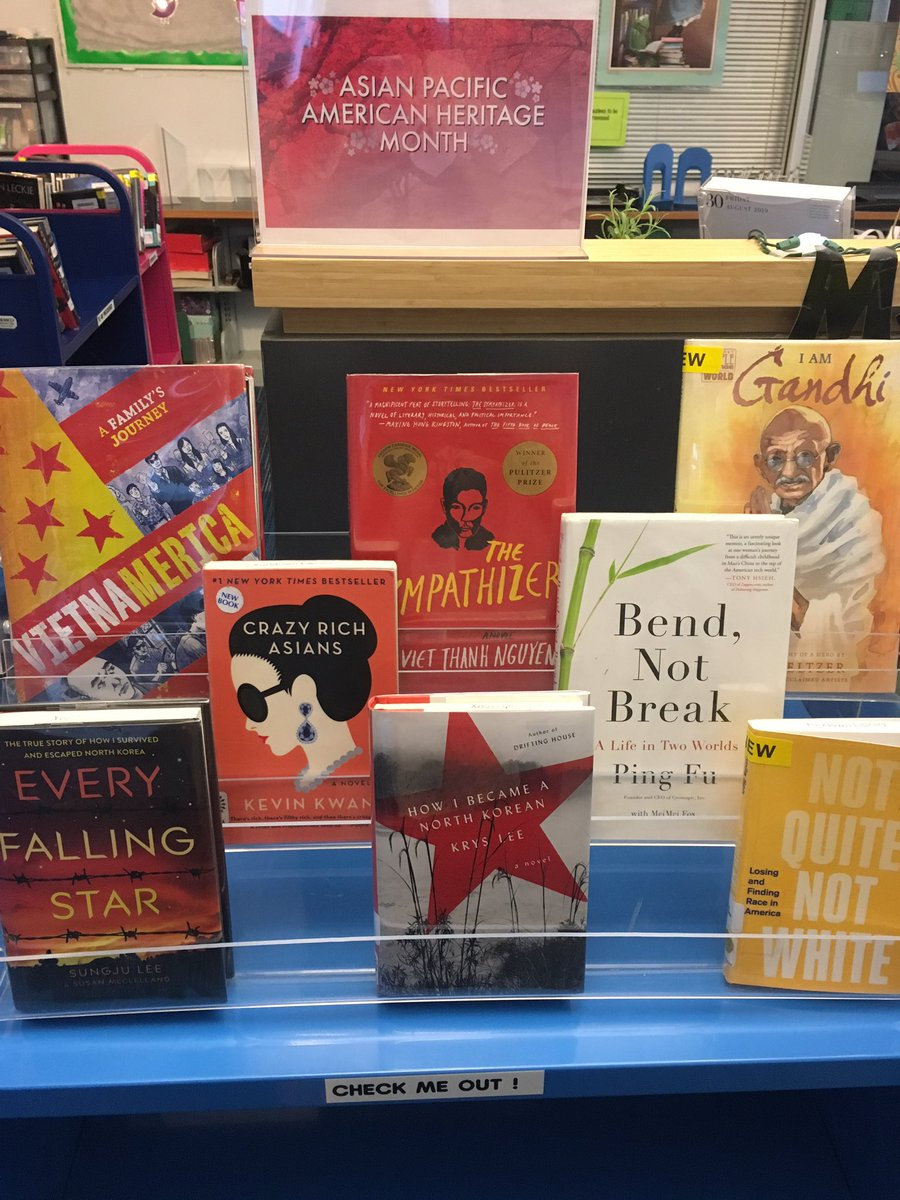 It's Asian-Pacific American Heritage Month! Check out one of these amazing books to celebrate these fantastic authors! <a target='_blank' href='http://search.twitter.com/search?q=YorktownReads'><a target='_blank' href='https://twitter.com/hashtag/YorktownReads?src=hash'>#YorktownReads</a></a> <a target='_blank' href='http://twitter.com/YorktownHS'>@YorktownHS</a> <a target='_blank' href='http://twitter.com/APSLibrarians'>@APSLibrarians</a> <a target='_blank' href='http://twitter.com/Principal_YHS'>@Principal_YHS</a> <a target='_blank' href='https://t.co/AqIil1P8fw'>https://t.co/AqIil1P8fw</a>