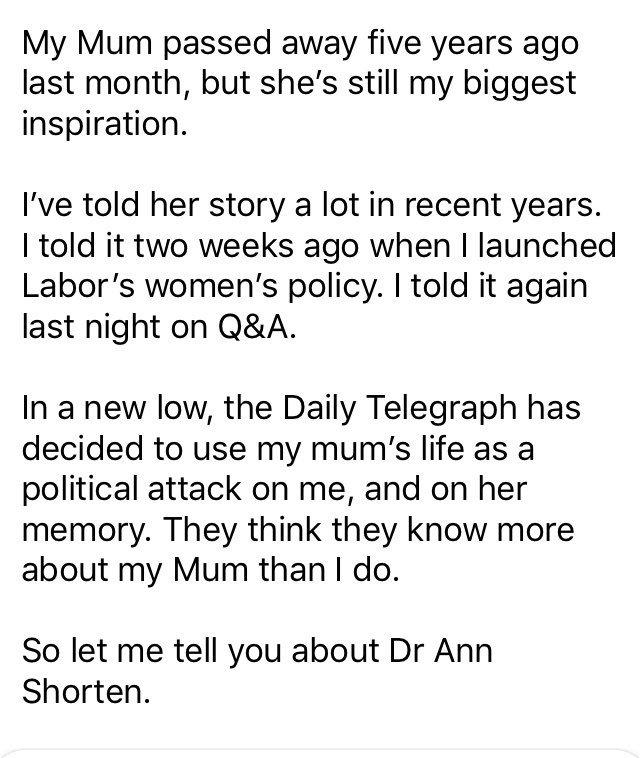 Australian political contender fights back tears over mother