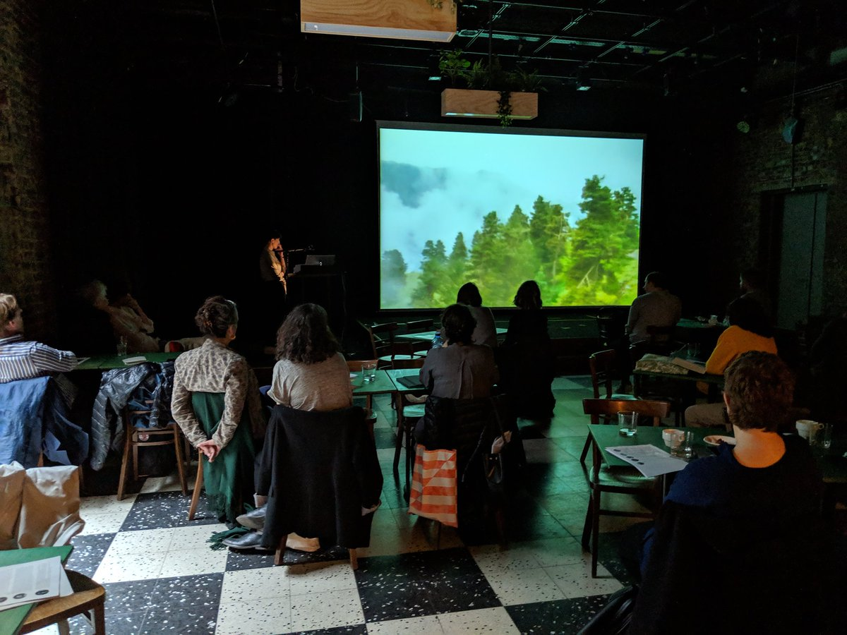 Sophio Medoidze presenting 'let us flow!' @onandfor at Beursschouwberg earlier today, followed by great work session with representatives from @zkmkarlsruhe @tabakalera Kunstlerhaus Stuttgart, @cac_bretigny Netwerk Aalst and Kaunas Film Festival. Now for @artbrussels ... <br>http://pic.twitter.com/s3Rm3MO0Lv