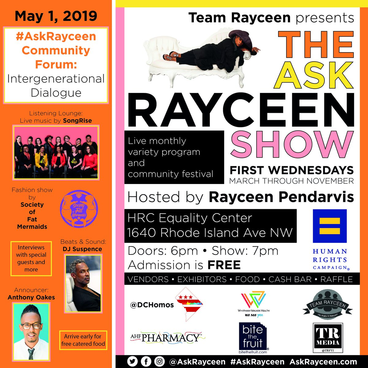 f7f36d00bc316 ... @TRSpencerMD ○Vendors, giveaways, and much more Venue: HRC in DC Doors:  6pm Show: 7pm Admission: FREE http://AskRayceen.com  pic.twitter.com/Bhb1Wdrqdo