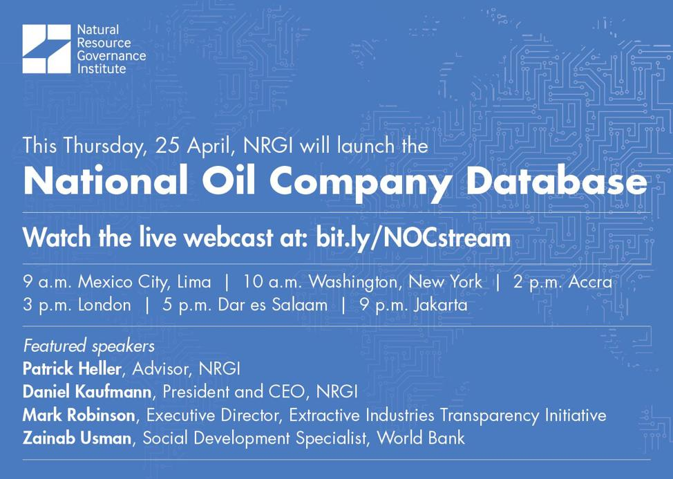 One hour until @NRGInstitute's launch of the free National #Oil Company Database. Join experts @prpheller, @kaufpost, @MssZeeUsman and @Mark_EITI as they discuss the data and research findings during the webcast: http://bit.ly/NOCstream #OpenGov