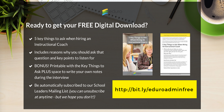 Looking for support when hiring #instructionalcoaches? We've got you covered!  Plus you'll be signed up to receive our newsletter created especially for #edleaders 🙌  https://edurolearning.lpages.co/school-leaders-free-download/…  #EduroLearning #edchat #edchateu #edleadership #asiaed #africaed #profdev #isedcoach