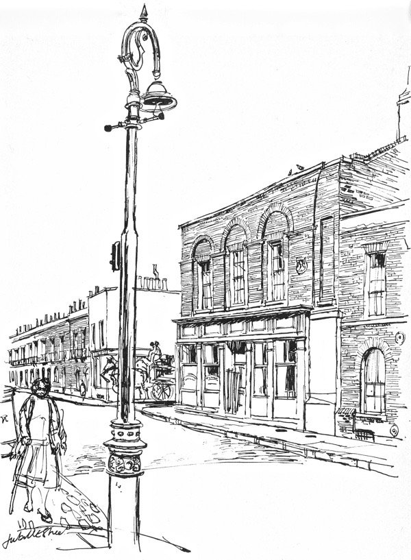 Tadmans in Whitechapel as drawn by Geoffrey Fletcher in 'The London Nobody Knows' & Tadmans as demolished this week with permission from Tower Hamlets Council: https://bit.ly/2GGeS38