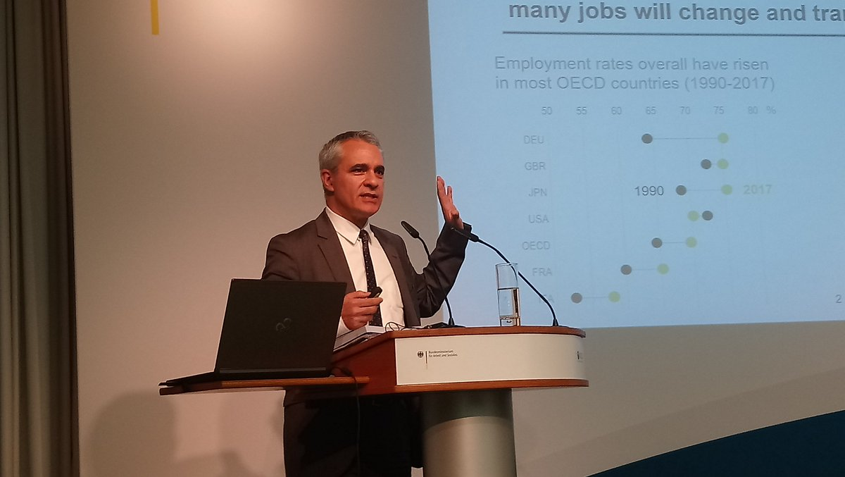 Very pleased to present the #OECD #EmploymentOutlook at the #BMAsTopSocial today, followed by two rich panel discussions. See more at  http:// oe.cd/employment-out look &nbsp; …  #TheFutureOfWork<br>http://pic.twitter.com/X6efbJLRGe