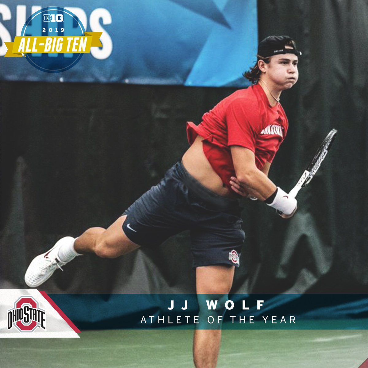 JJ Wolf of @OhioStateMTEN named 2019 #B1GMTennis Athlete of the Year.