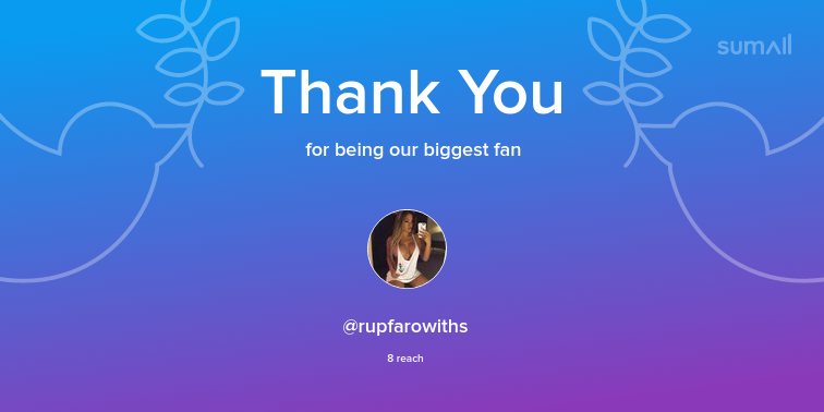 Our biggest fans this week: @rupfarowiths. Thank you! via https://sumall.com/thankyou?utm_source=twitter&utm_medium=publishing&utm_campaign=thank_you_tweet&utm_content=text_and_media&utm_term=c8d1f24383f520f7df11b67f…