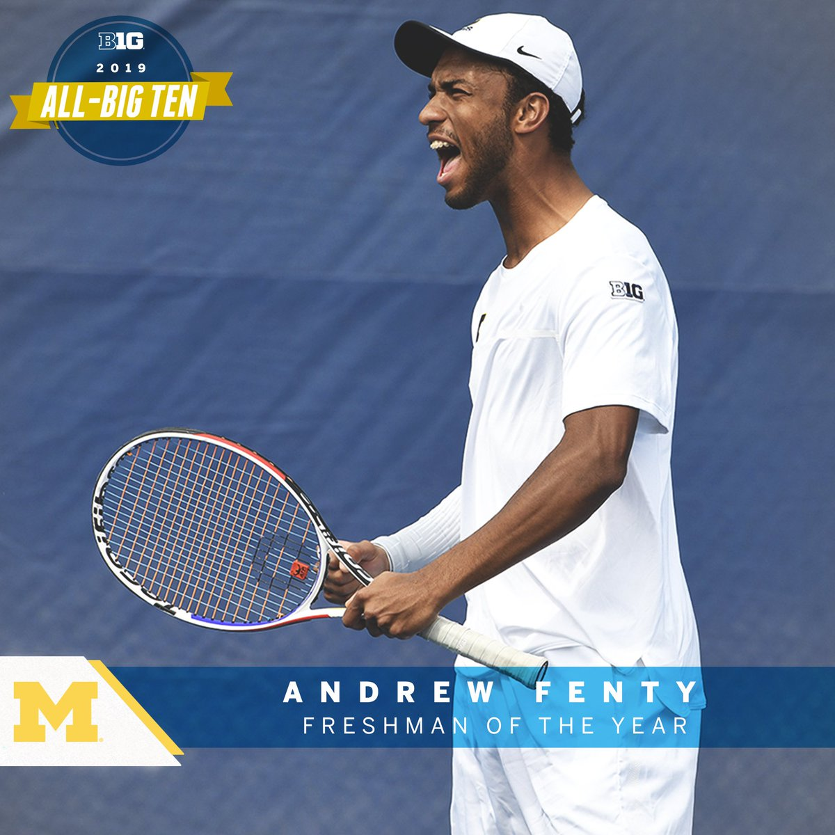 Andrew Fenty of @umichtennis named 2019 #B1GMTennis Freshman of the Year.