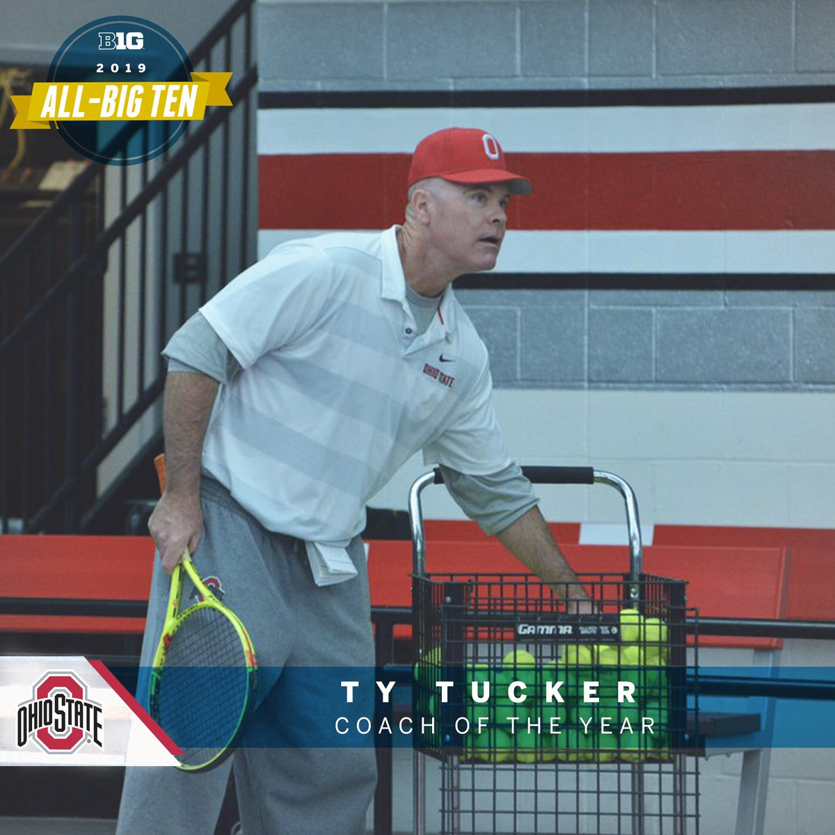 Ty Tucker of @OhioStateMTEN named 2019 #B1GMTennis Coach of the Year.