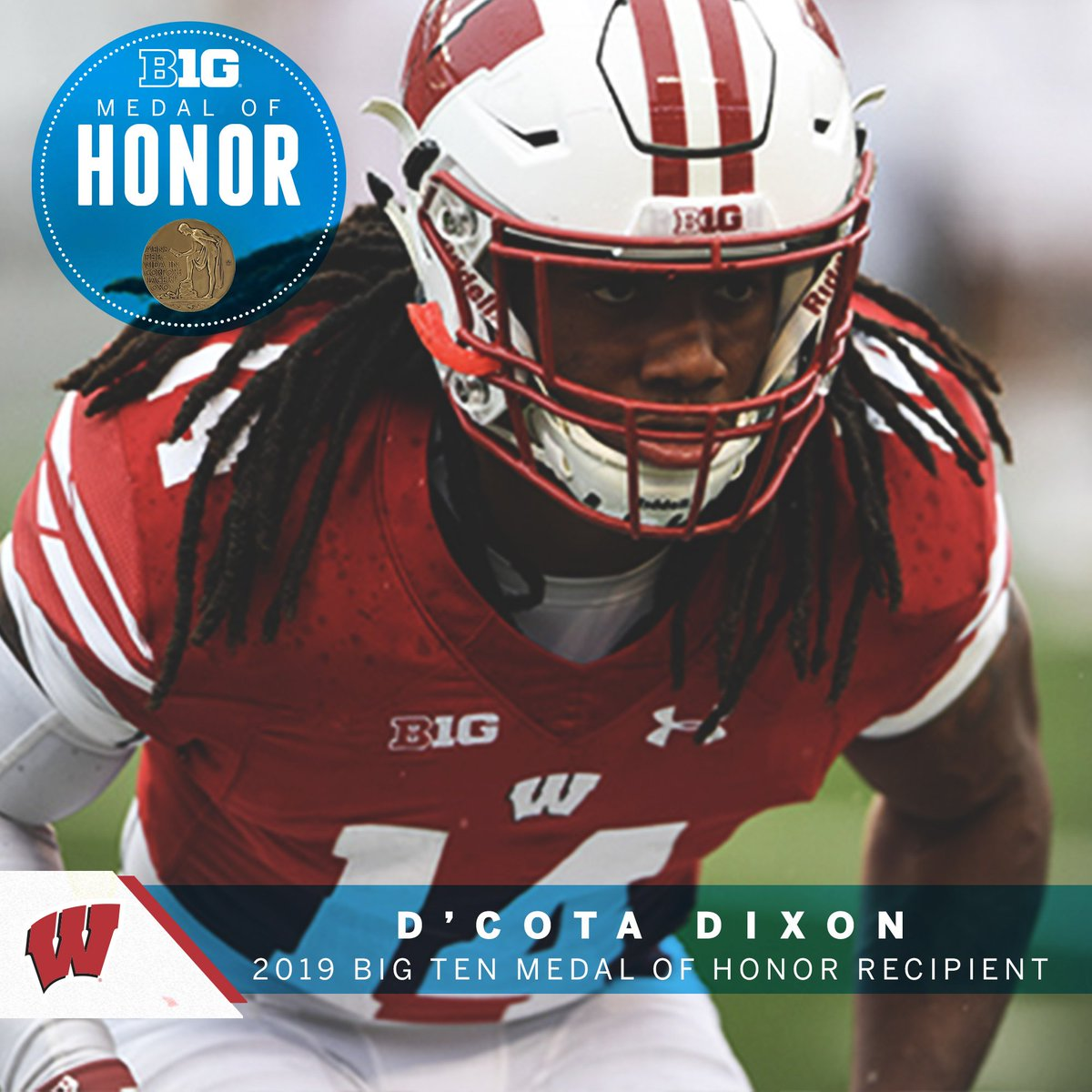 .@WeAreAFCA Good Works Team member and three-time All-Big Ten honoree D'Cota Dixon earned an undergraduate degree in rehabilitation psychology last year. #B1GMOH