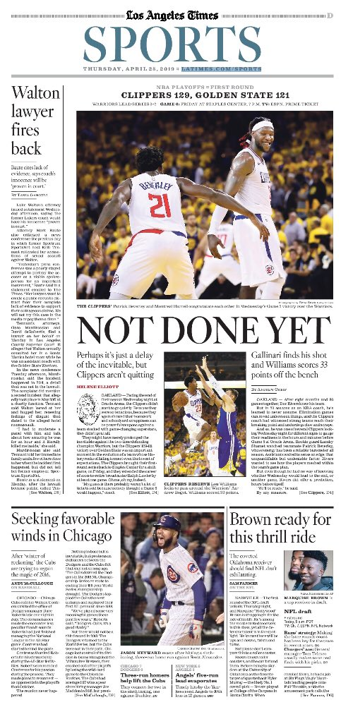 Game 5 from @latimessports: Not Done Yet  HOF @helenenothelen on Clips' continued fight: https://www.latimes.com/sports/clippers/la-sp-clippers-warriors-nba-20190424-story.html…  .@BA_Turner on @patbev21 https://www.latimes.com/sports/clippers/la-sp-clippers-patrick-beverley-20190424-story.html…  Me on Lou finishing what Beverley and Gallinari started: https://www.latimes.com/sports/clippers/la-sp-clippers-warriors-game-5-20190424-story.html…