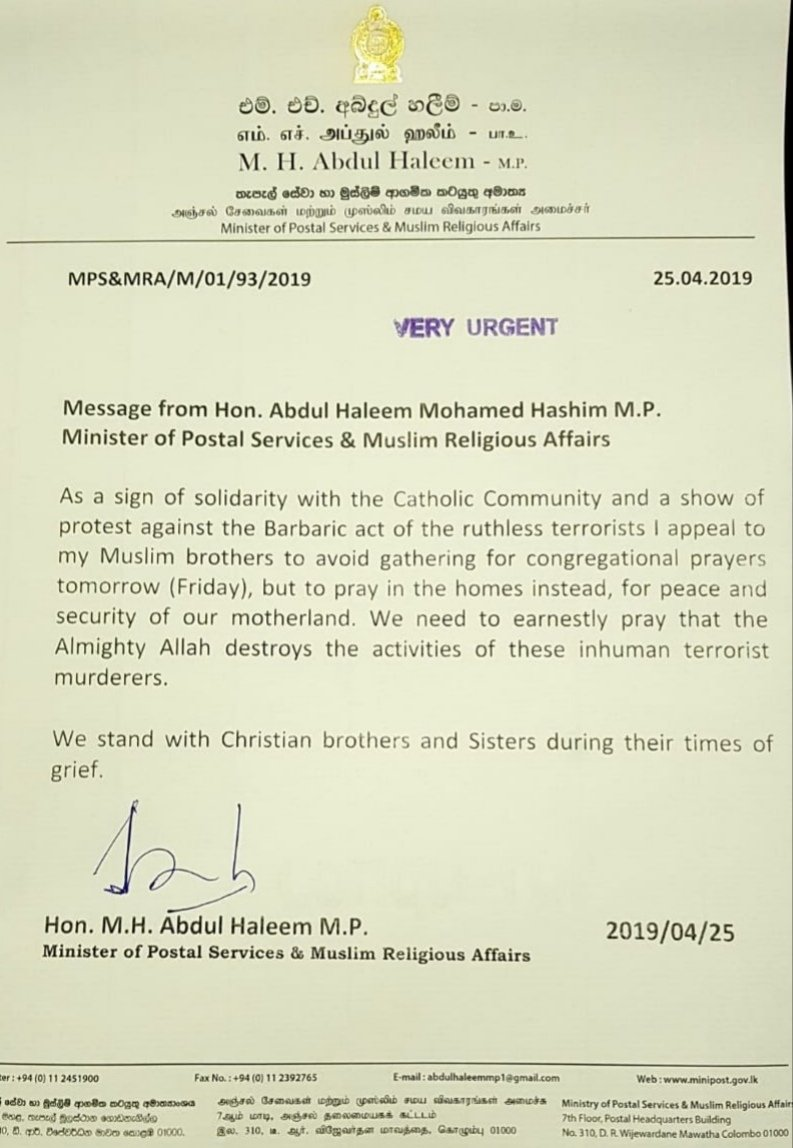 Muslim Religious Affairs Minister Abdul Haleem Has Requested Men To Avoid Gathering For Jumma Prayers Tomorrow At Mosques And Pray Home