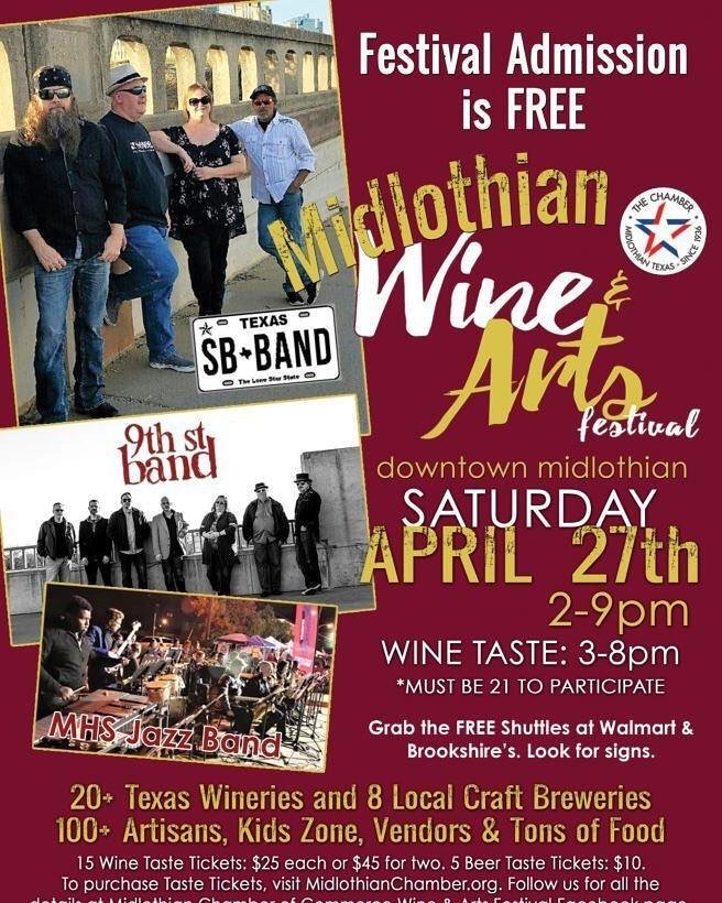 We're so excited! Today, we're stuffing goody bags and tomorrow, we stripe the streets of #DowntownMidlothian for our #WineAndArtsFestival this Sat, Apr 27 from 2-9 pm. Featuring 21 #TexasWineries and 8 Craft Beers, Live Music, Artisans, Food Trucks and Kids Zone. @TXWineLoverpic.twitter.com/Mr9fvNl1c2