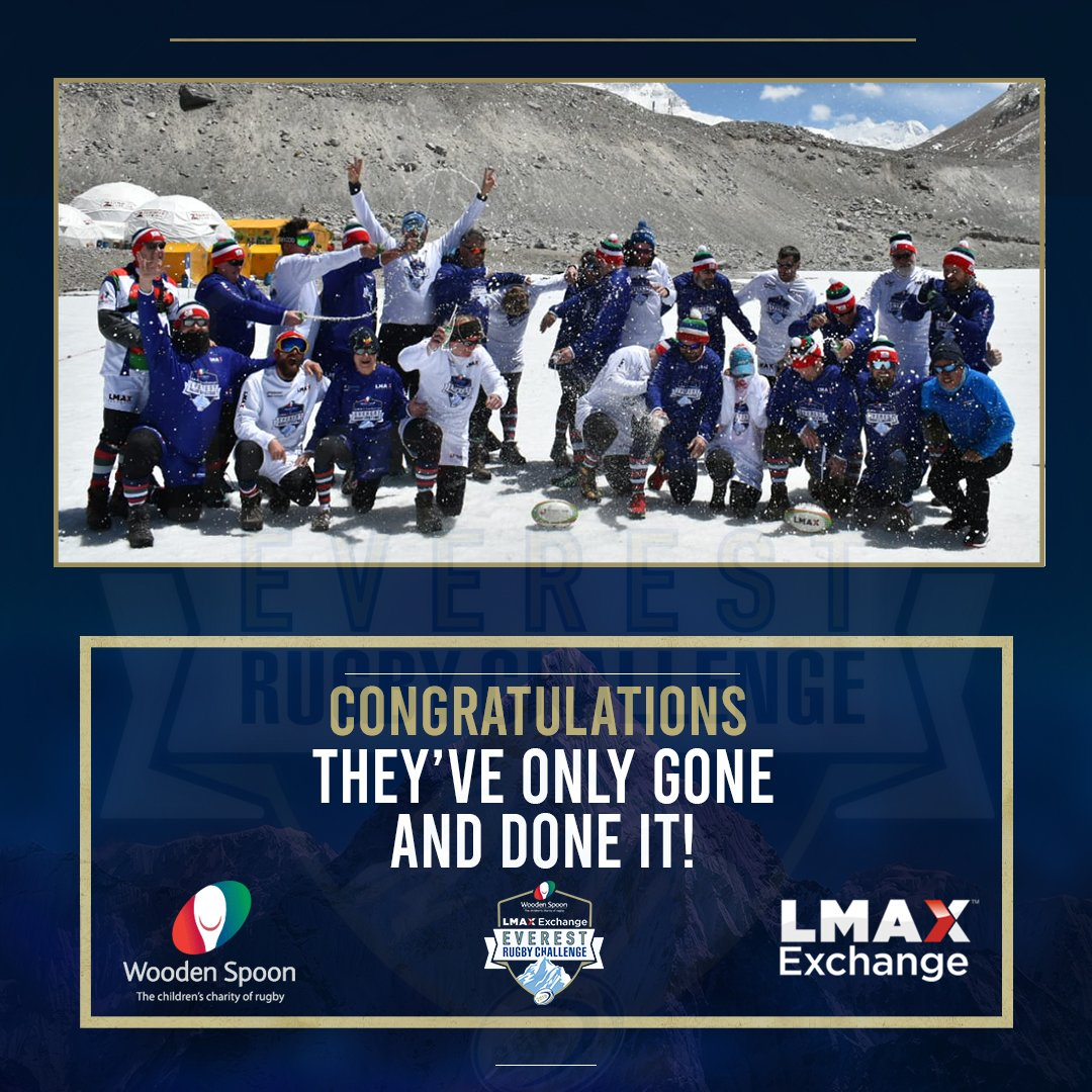 It's time to celebrate!🎉 Our @LMAX Exchange Everest Rugby Challenge team have only gone and set the world record for the highest game of touch rugby in history, at 5,200m🏆 #EverestRugby @mercerdavid