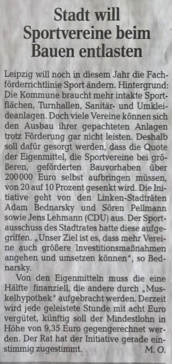Sportvereine in #Leipzig bei Sanierungen besser unterstützen! Der Stadtrat beschließt einstimmig: Ab 2020 soll der Eigenanteil bei Bauprojekten mit mehr als 200.000 Euro von 20 auf 10 Prozent gesenkt werden. Tolle Sache! Danke auch an Jens Lehmann und @LINKEPELLI! via @lvz #SRLE