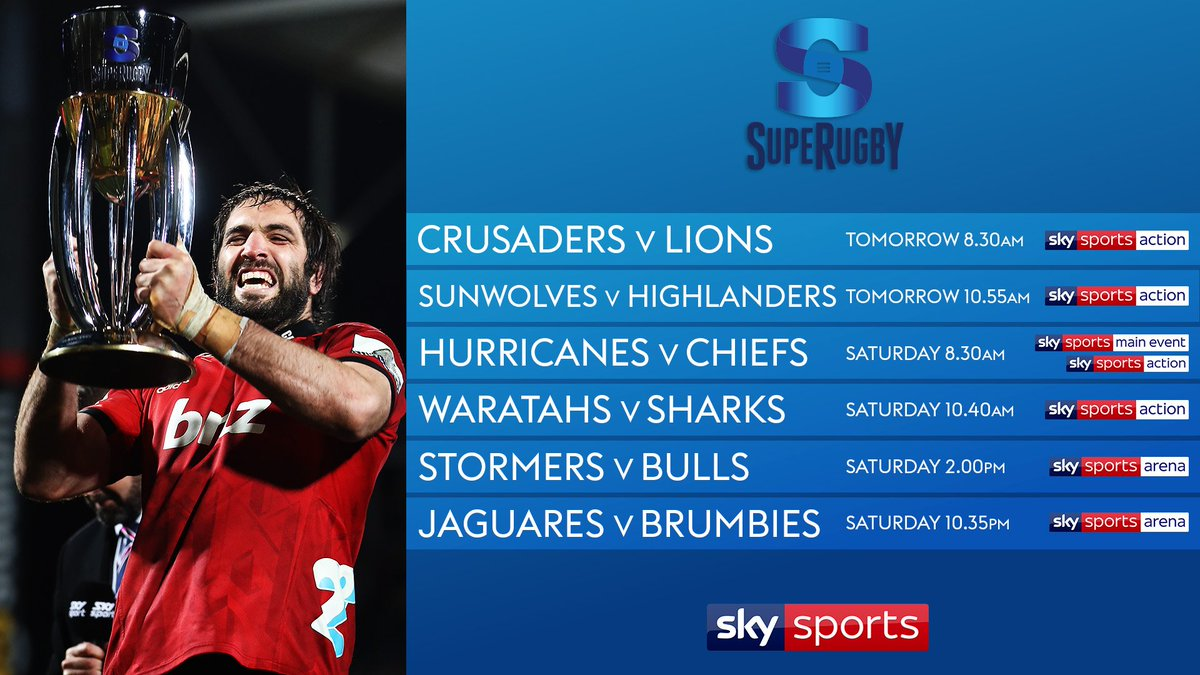 test Twitter Media - 🏉 Six live Super Rugby this weekend on @SkySports.  The defending champions @crusadersrugby kick us off tomorrow morning against @LionsRugbyCo. 👇 Match details 👇 https://t.co/7xTt8daHnL