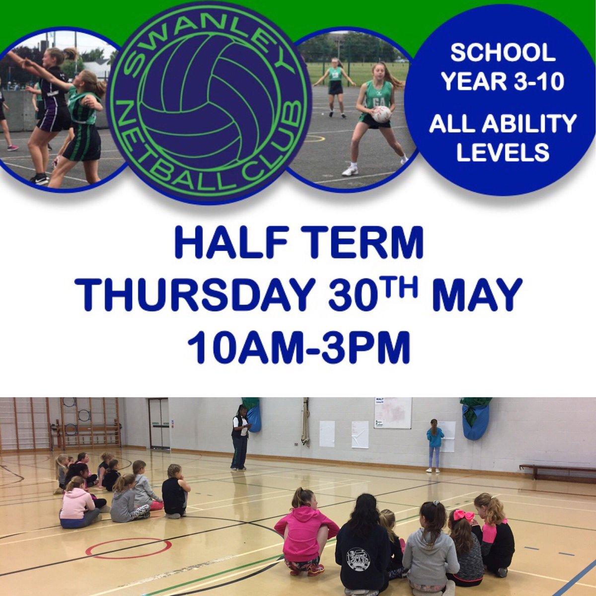 Great day of netball fun at the  @swanleync  MayHalf Term Netball Camp  @KentSport1 @steephillonline @StPaulsSwanley @DSTC_PE @BullersPe @LondonSENetball @HandleHorizon @7oaksSports @joydens_jnr @hextableprimary #netball