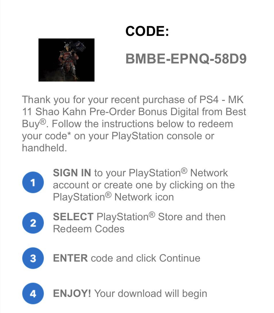 Here's a free Shao Kahn code for #ps4 Best Buy accidentally
