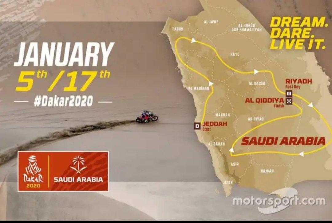Le parcours du Dakar Rally 2020 est officiel. Du 9 au 17 janvier ! 13 jours de compétition et plus de 9000km  Un parcours principalement tracé dans les dunes avec des paysages où se mêlent déserts, montagnes, canyons et vallées. #dakar2020 #teamcroizon<br>http://pic.twitter.com/gntulhQuto