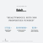 We are proud to announce that we have just surpassed 300 properties funded! We are especially thankful for the growing number of RealtyMogul investors who have trusted us to put their capital to work.Read more about this achievement: https://t.co/FwPFR87d93