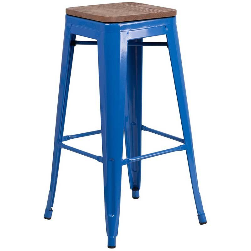 """https://bayfurnishings.com/product/30-high-backless-blue-metal-barstool-with-square-wood-seat/… Yeah, that color does it. Backless 30"""" high metal and wood barstool looks great on the bar, works indoor/outdoor for your patio furniture (comes in table sets as well) and as extra seating! #bayfurnishings #furniture #BarstoolBestBar #BarstoolChamps"""