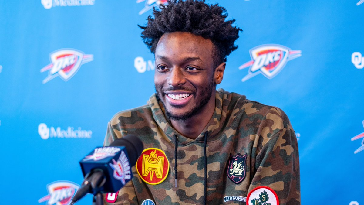 "Jerami Grant.   ""I'm gonna try to work on everything, consistency with my shot, ball handling, defense.""  ""Being in OKC is one of the best things to happen to my career. It was huge for me."""