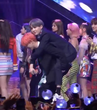 jimin is carrying yoongi tae is carrying jin jungkook is carrying hoseok and namjoon's carrying the whole music industry on his back #BBMAsTopSocial BTS @BTS_twt #BoyWithLuv4thWin <br>http://pic.twitter.com/QrTHgCcS2S