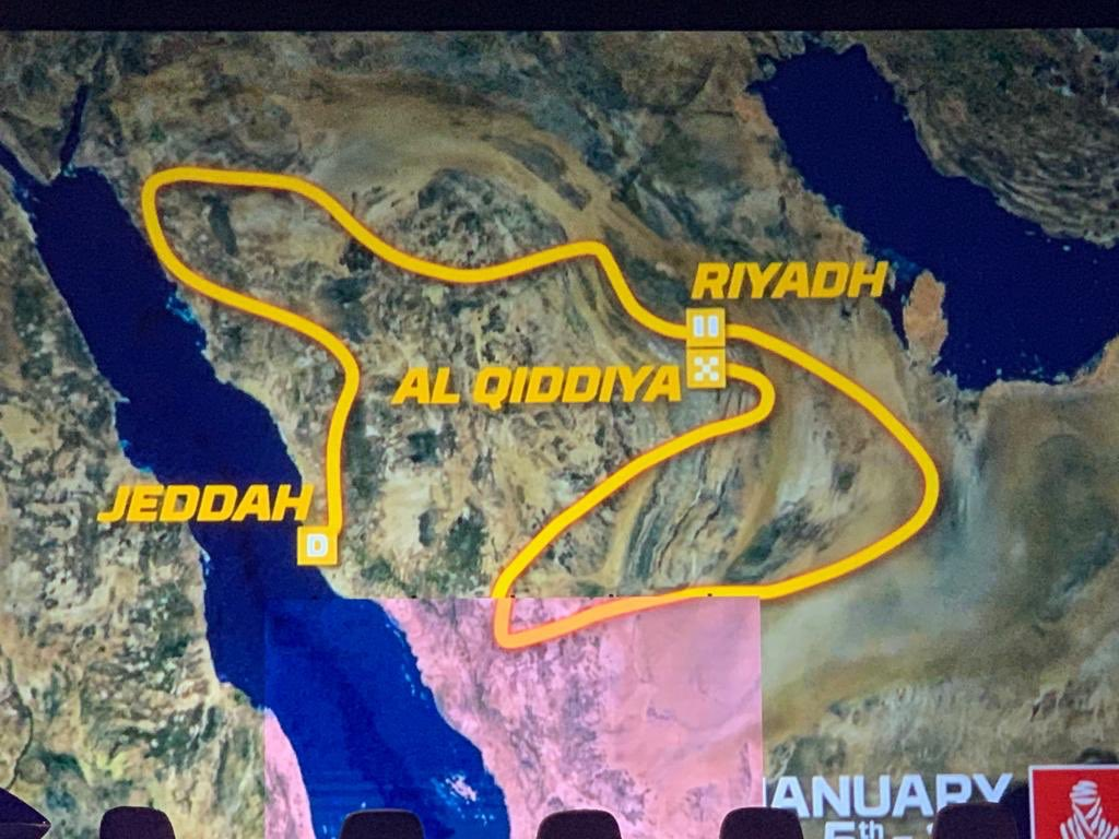 It's OFFICIAL! The Dakar Race is moving to Saudi for the next 5 years. Here is the overall route and some of the drivers that will participate in the multi-terrain challenge in January 2020. #saudidakar2020  #Qiddiya<br>http://pic.twitter.com/7yGeAwX7gr