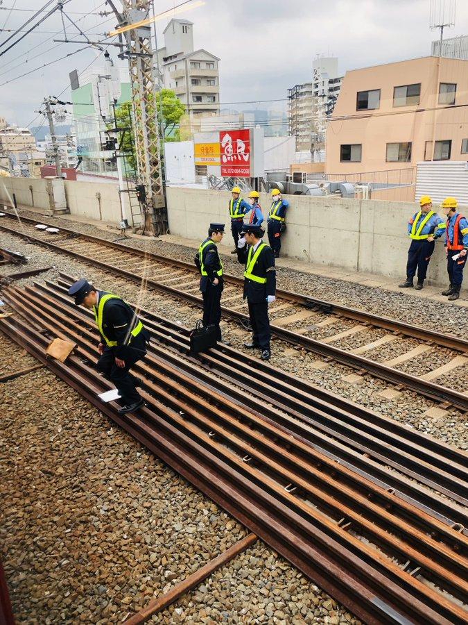 京阪線の萱島駅で女性が飛び込み自殺を図った人身事故現場の画像